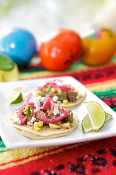 Chimichurri Beef Tacos with Pineapple Cucumber Salsa