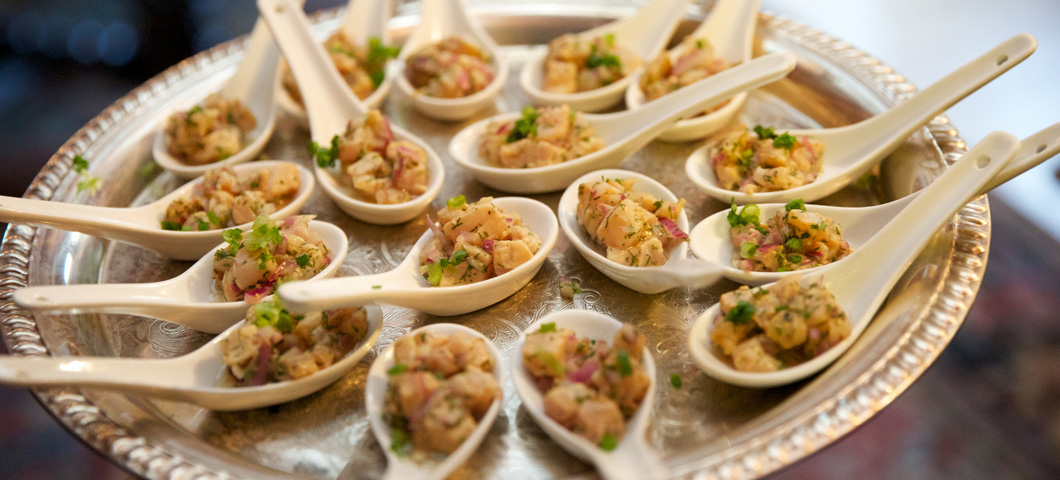 Potato salad served on spoons