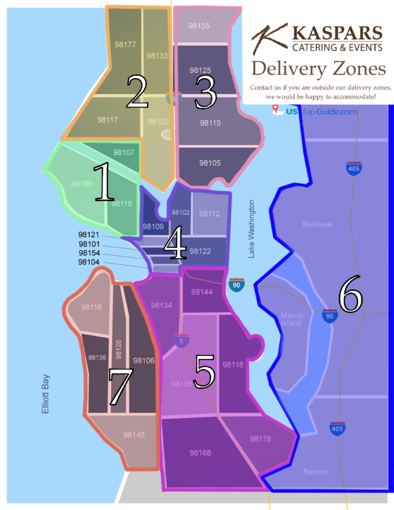 Map of greater Seattle Area with zipcodes outlined to mark different delivery zones.