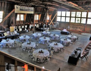ASUW Shell House set with banquet Tables and dinner sets